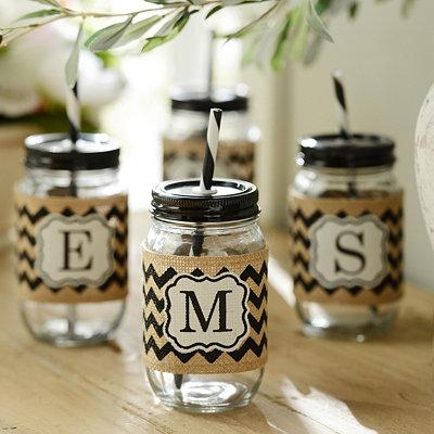 Burlap Monogram Mason Jar Sipper