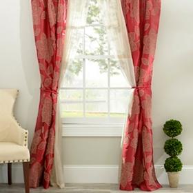 Medina Red 6-piece Curtain Panel Set, 84 in.