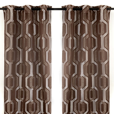 Hexagon Mink Curtain Panel Set, 84 in.