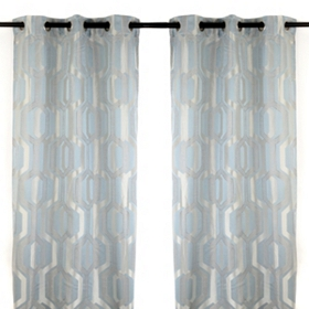 Hexagon Spa Blue Curtain Panel Set, 84 in.