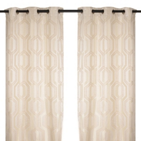 Hexagon Ivory Curtain Panel Set, 84 in.