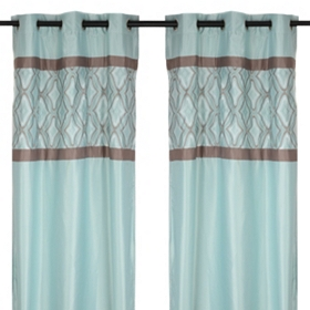 Hunter Blue & Brown Curtain Panel Set, 84 in.