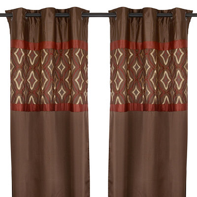 Hunter Brown & Burgundy Curtain Panel Set, 84 in.