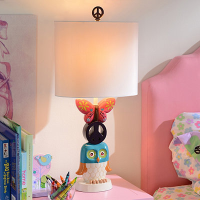 Peace, Owls, and Butterflies Table Lamp