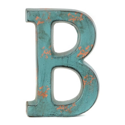 Teal Ceramic Monogram B Statue
