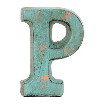 Teal Ceramic Monogram P Statue
