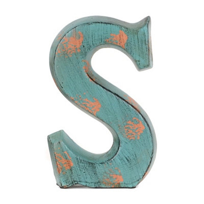 Teal Ceramic Monogram S Statue