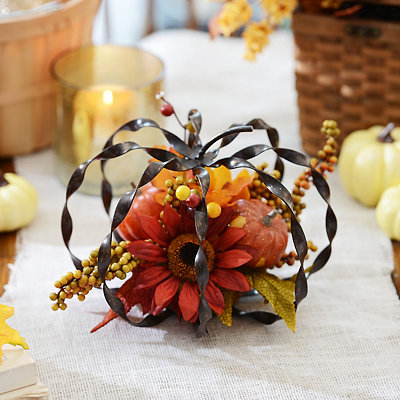Bronze Metallic Twist Pumpkin Arrangement
