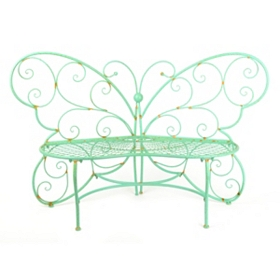Patina Green Metal Outdoor Butterfly Bench