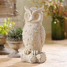 White Cement Owl Lawn Statue