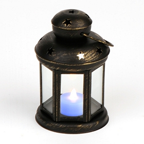 Star Spangled Black Metal Lantern