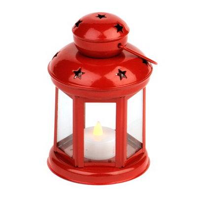 Star Spangled Red Metal Lantern