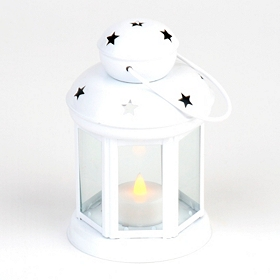 Star Spangled White Metal Lantern