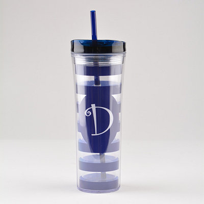 Navy Blue Monogram D Tumbler