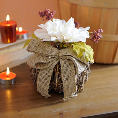 Cream Daisy Rattan Pumpkin Arrangement