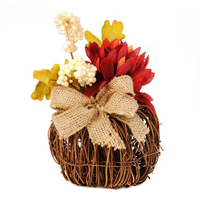 Red Mum Rattan Pumpkin Arrangement