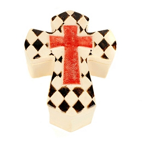 Black and Red Ceramic Cross Box