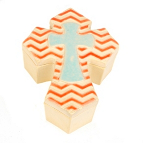 Orange Chevron Ceramic Cross Box