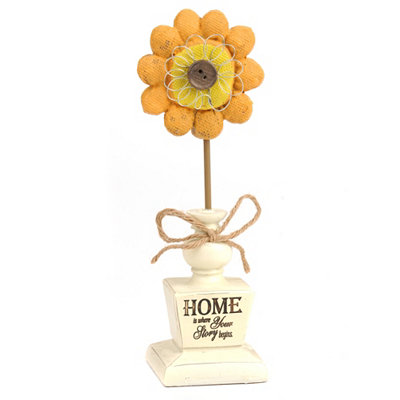 Home Sentiment Burlap Flower Statue