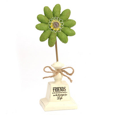 Friends Sentiment Burlap Flower Statue