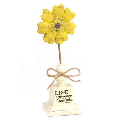 Life is a Journey Burlap Flower Statue