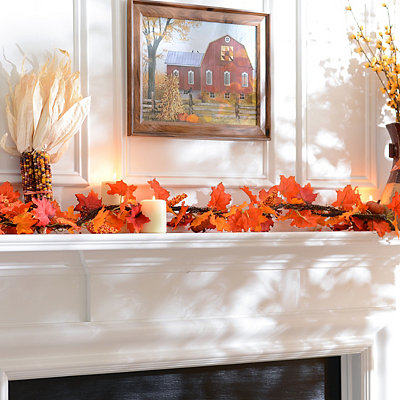 Dark Orange Maple Leaf Pumpkin Garland