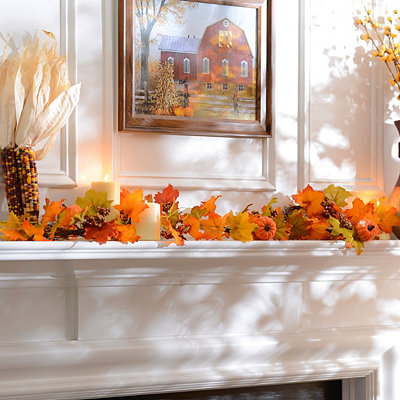 Orange Maple Leaf Pumpkin Garlands
