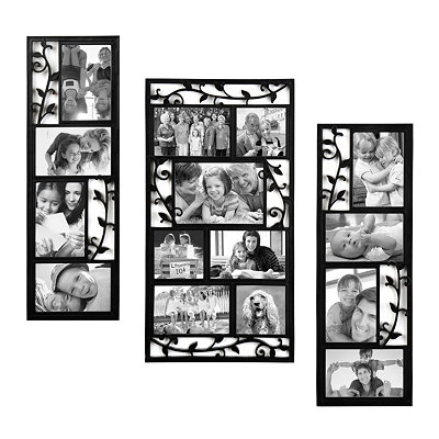 Black Scroll Vine Collage Frames, Set of 3
