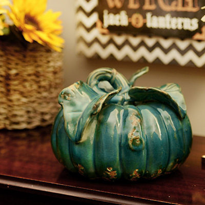 Distressed Turquoise Ceramic Pumpkin
