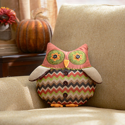 Patchwork Autumn Owl Pillow