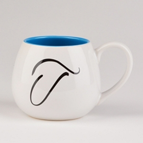 Blue & White Monogram T Ceramic Mug