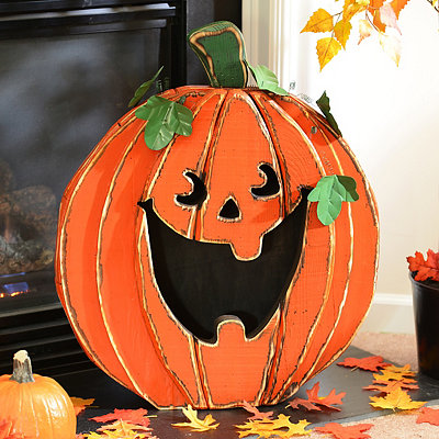 Distressed Wooden Jack-O-Lantern