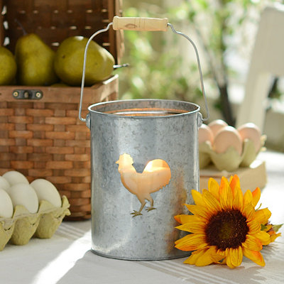 Galvanized Rooster Lantern, 7 in.