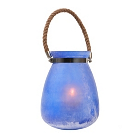 Ocean Blue Buried Glass Lantern, 10 in.