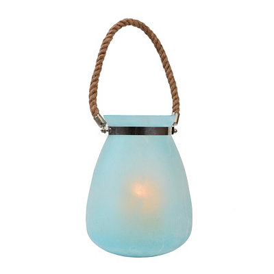 Seaglass Blue Buried Glass Lantern, 10 in.