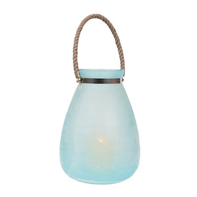 Seaglass Blue Buried Glass Lantern, 13.5 in.