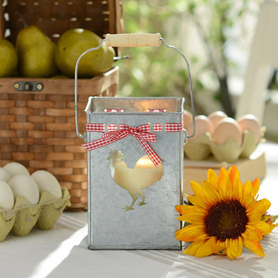 Galvanized Rooster Lantern with Bow, 7 in.