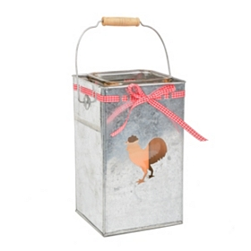 Galvanized Rooster Lantern with Bow, 10.25 in.