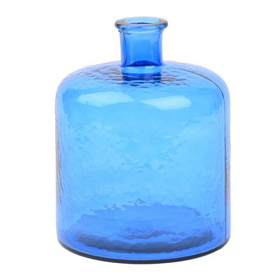 Blue Hammered Glass Bottle
