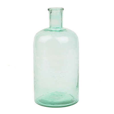 Green Hammered Glass Bottle, 11 in.