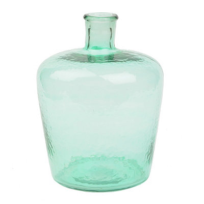 Green Hammered Glass Bottle, 12 in.