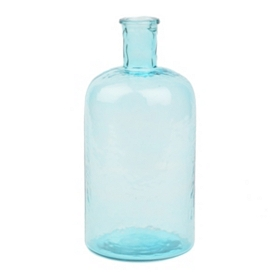 Turquoise Hammered Glass Bottle, 11 in.