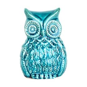 Turquoise Ceramic Owl Statue