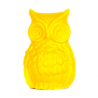 Yellow Ceramic Owl Statue