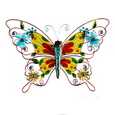 Red & Yellow Glass Butterfly Plaque