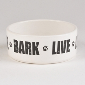 Live, Love, Bark Ceramic Dog Bowl