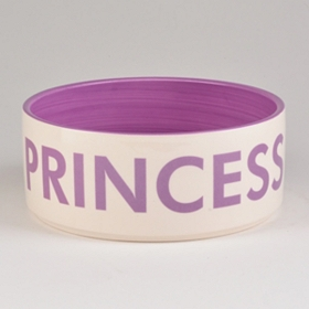 Purple Princess Ceramic Dog Bowl