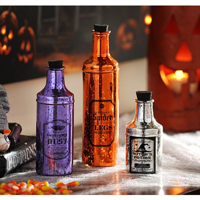 Halloween Mercury Glass Potion Bottles, Set of 3