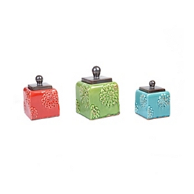 Red, Green, & Blue Embossed Canisters, Set of 3