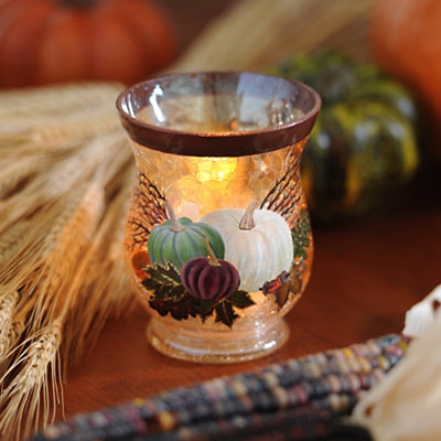 Crackle Glass Pumpkin Votive Holder